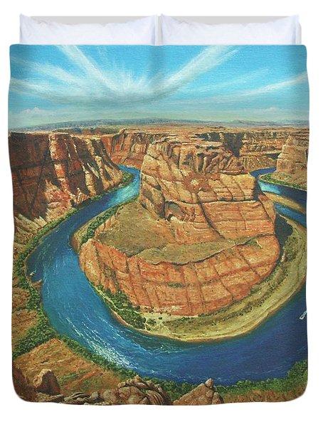 Horseshoe Bend Colorado River Arizona Duvet Cover by Richard Harpum