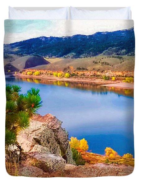 Horsetooth Lake Overlook Duvet Cover by Jon Burch Photography