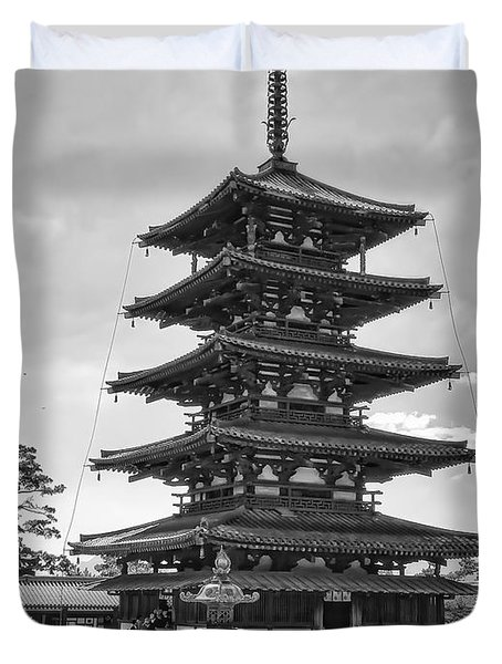 HORYU-JI TEMPLE PAGODA B W - NARA JAPAN Duvet Cover by Daniel Hagerman