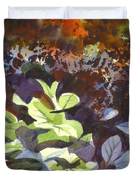 Hostas In The Forest Duvet Cover by Kip DeVore