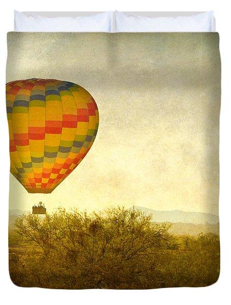 Hot Air Balloon Flight over the Southwest Desert Fine Art Print  Duvet Cover by James BO  Insogna