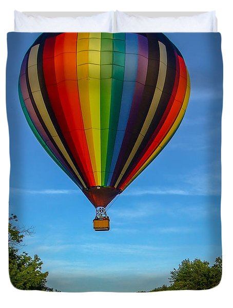 Hot Air Balloon Woodstock Vermont Duvet Cover by Edward Fielding