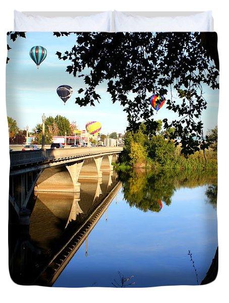 Hot Air Balloons Through Tree Duvet Cover by Carol Groenen