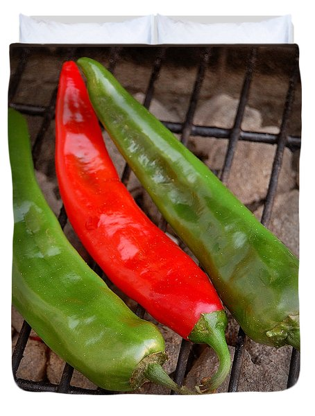 Hot And Spicy - Chiles On The Grill Duvet Cover by Steven Milner