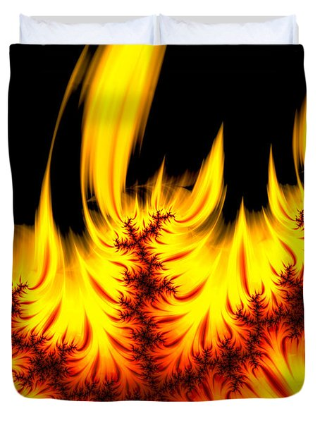 Hot Orange And Yellow Fractal Fire Duvet Cover by Matthias Hauser