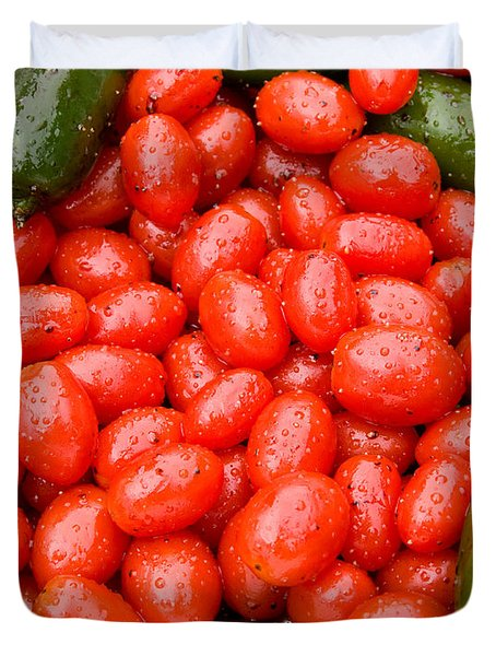 Hot Peppers And Cherry Tomatoes Duvet Cover by James BO  Insogna