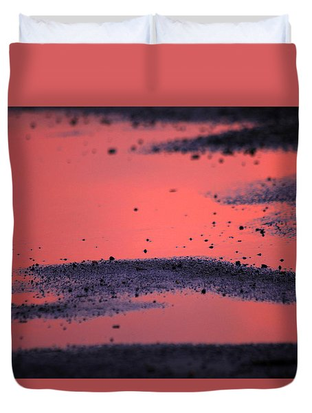 Hot Pink Puddle Duvet Cover by Karol Livote