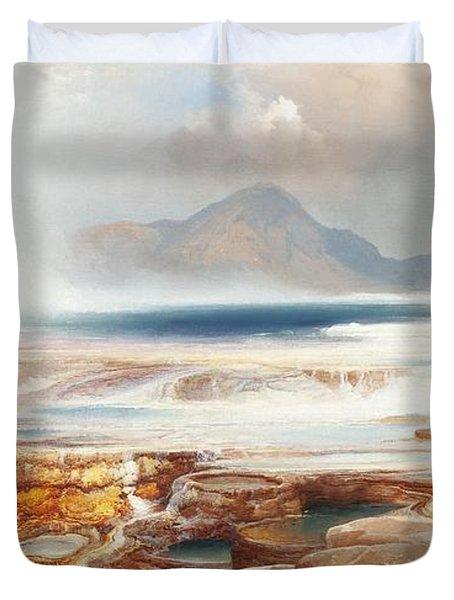 Hot Springs Of Yellowstone Duvet Cover by Thomas Moran