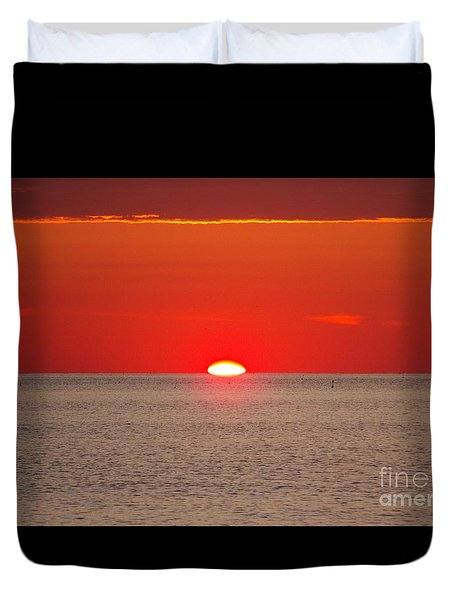 Hot Sun Seems To Melt Into The Sea Duvet Cover by Eunice Miller