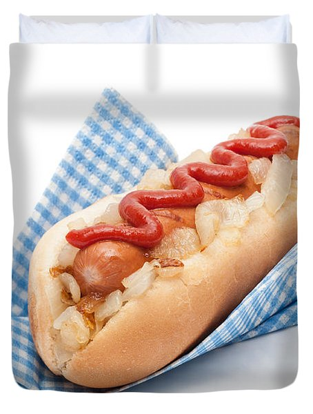 Hotdog In Napkin Duvet Cover by Amanda Elwell