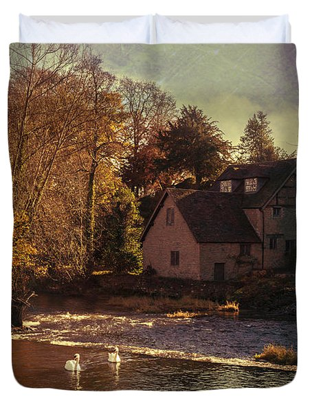 House On The River Duvet Cover by Amanda Elwell