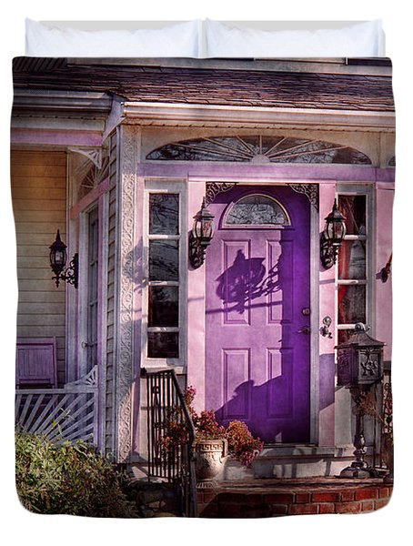 House - Porch - Cranford Nj - Lovely In Lavender  Duvet Cover by Mike Savad