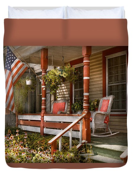House - Porch - Traditional American Duvet Cover by Mike Savad