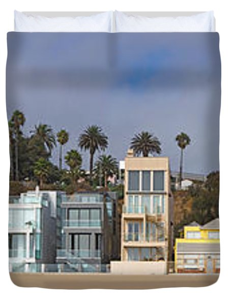 Houses On The Beach, Santa Monica, Los Duvet Cover by Panoramic Images