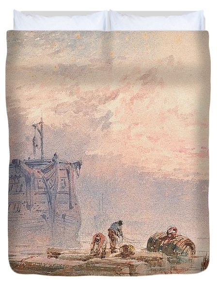 Hulks At Anchor Duvet Cover by William Cook of Plymouth