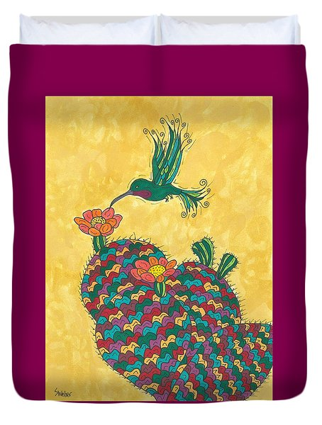 Hummingbird And Prickly Pear Duvet Cover by Susie Weber