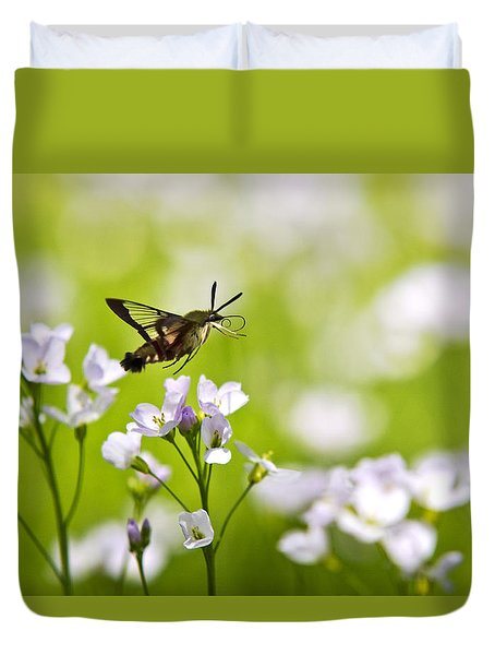 Hummingbird Clearwing Moth Flying Away Duvet Cover by Christina Rollo
