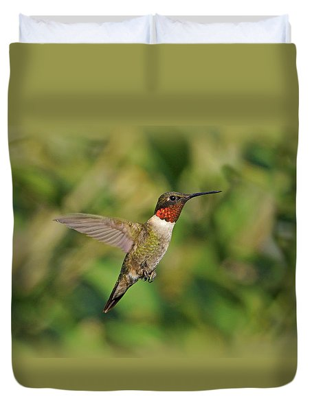 Hummingbird in Flight Duvet Cover by Sandy Keeton