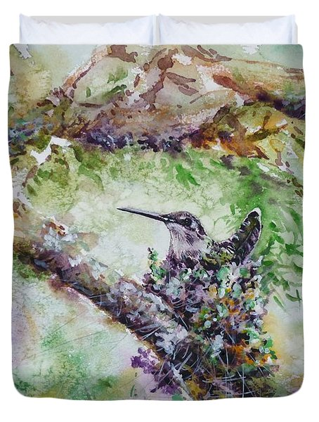 Hummingbird In The Nest Duvet Cover by Zaira Dzhaubaeva