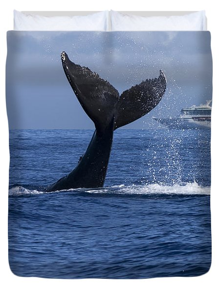 Humpback Whale Tail Lobbing In Maui Duvet Cover by Flip Nicklin