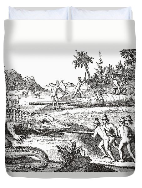 Hunting Alligators In The Southern States Of America Duvet Cover by Theodor de Bry