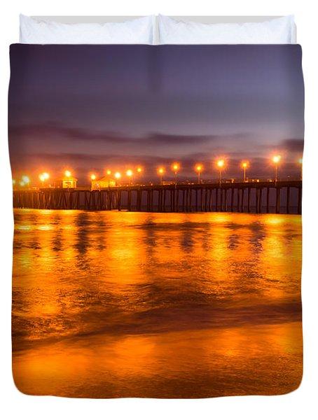 Huntington Beach Pier at Night Duvet Cover by Paul Velgos