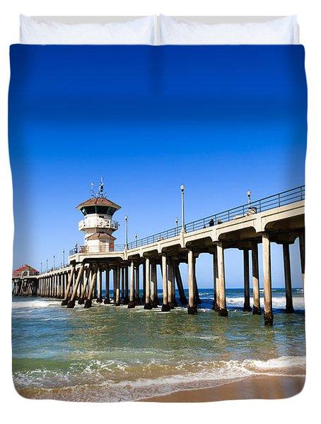 Huntington Beach Pier In Southern California Duvet Cover by Paul Velgos