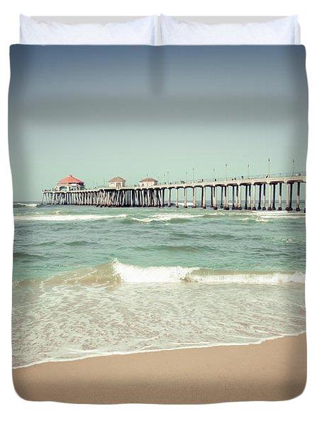 Huntington Beach Pier Vintage Toned Photo Duvet Cover by Paul Velgos