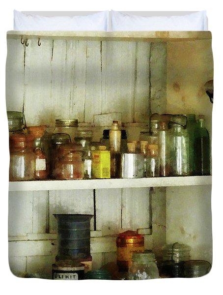 Hurricane Lamp in Pantry Duvet Cover by Susan Savad