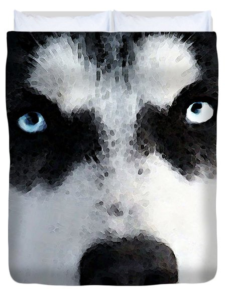 Husky Dog Art - Bat Man Duvet Cover by Sharon Cummings