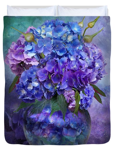 Hydrangeas In Hydrangea Vase Duvet Cover by Carol Cavalaris
