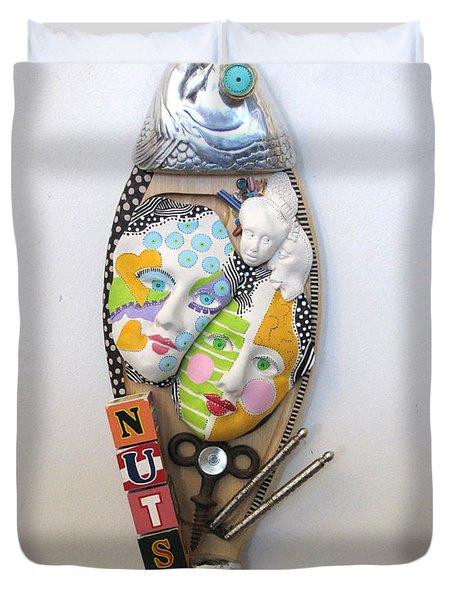 I Am A Shizophrenic And So Am I Duvet Cover by Keri Joy Colestock