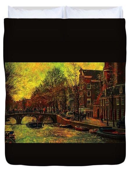 I Amsterdam. Vintage Amsterdam In Golden Light Duvet Cover by Jenny Rainbow