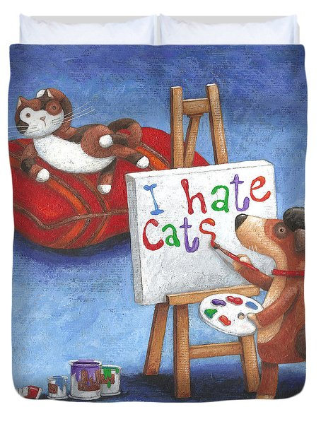 I Hate Cats Duvet Cover by Peter Adderley