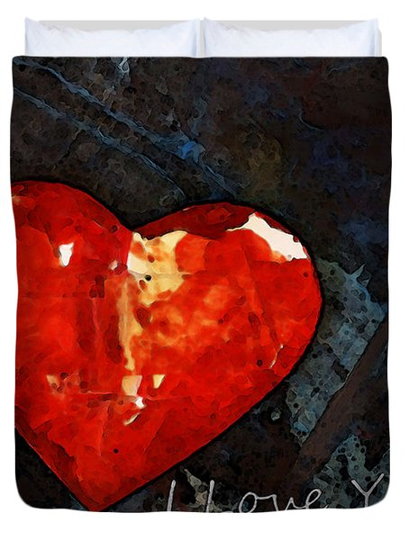 I Just Love You - Red Heart Romantic Art Duvet Cover by Sharon Cummings