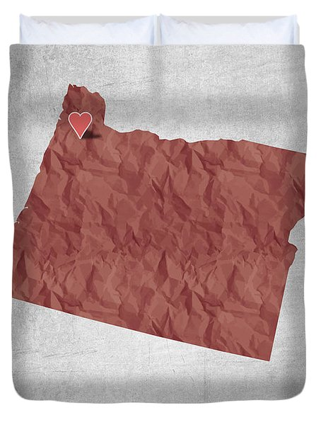 I Love Portland Oregon- Red Duvet Cover by Aged Pixel