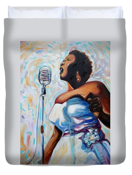 I Love The Blues Duvet Cover by Emery Franklin