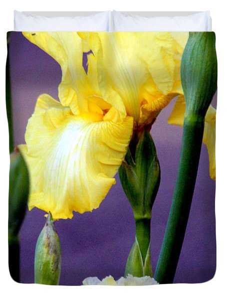 I Only Have Iris For You Duvet Cover by Kathy  White