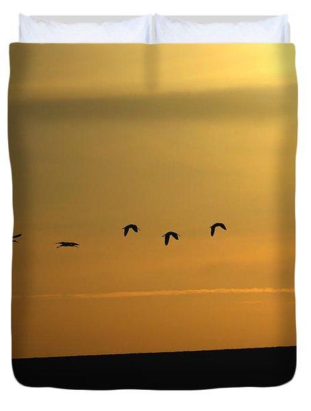 Ibis Sunrise Duvet Cover by Ernie Echols