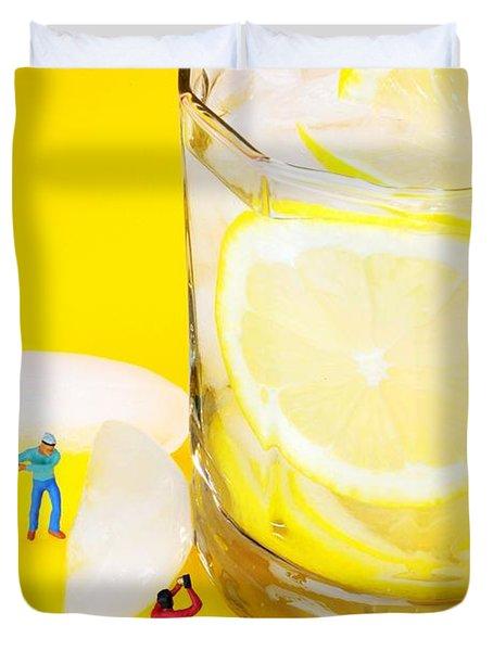 Ice Making For Lemonade Little People On Food Duvet Cover by Paul Ge
