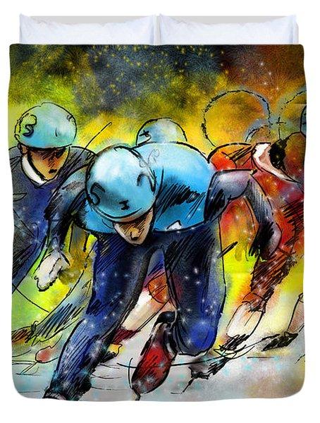 Ice Speed Skating 01 Duvet Cover by Miki De Goodaboom