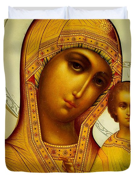 Icon Of The Virgin Kazanskaya Duvet Cover by Dmitrii Smirnov