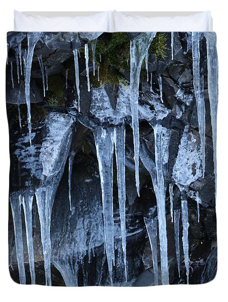 Icycles On Cliff Duvet Cover by Carol Groenen