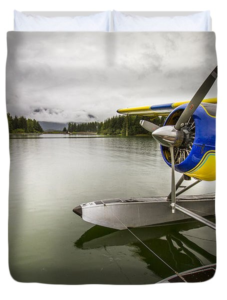 Idle Float Plane At Juneau Airport Duvet Cover by Darcy Michaelchuk