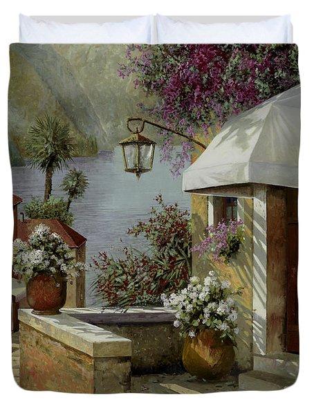 il lampione oltre la tenda Duvet Cover by Guido Borelli