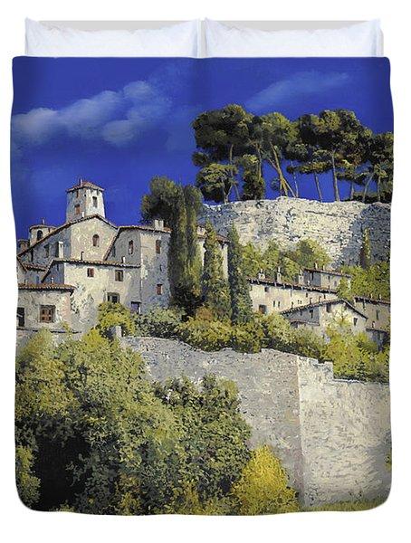 il villaggio in blu Duvet Cover by Guido Borelli