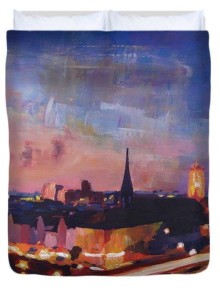 Illuminated Berlin Skyline At Dusk  Duvet Cover by M Bleichner