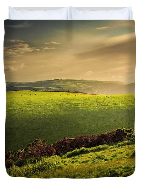 Illuminated Evening Landscape North Devon Duvet Cover by Dorit Fuhg