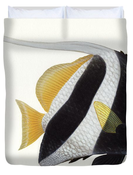Illustration Of A Pennant Coralfish Duvet Cover by Carlyn Iverson