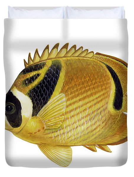 Illustration Of A Raccoon Butterflyfish Duvet Cover by Carlyn Iverson